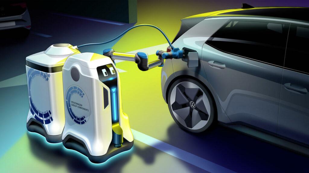 Volkswagen robot autonoom elektrische auto's opladen