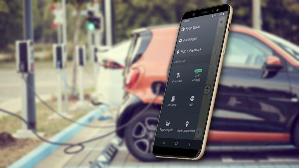 Sygic navigatie app voor EV's actieradius laadpunten