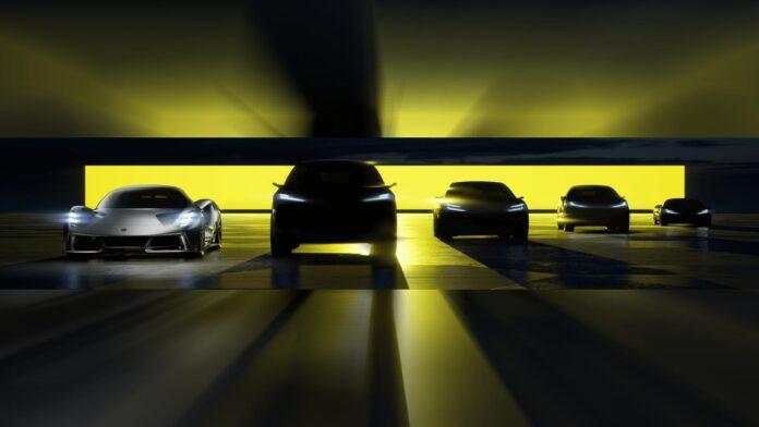 vier elektrische auto's bij Lotus (SUV's, coupé, sportwagen) in de planning